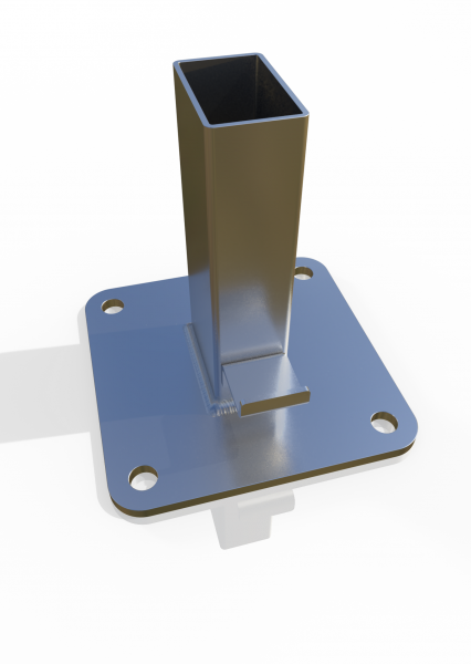 Einsteckfuß für Reihenfosten ECONFENCE® Basic Line Zink 140x140x6mm